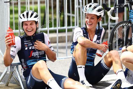 Trek-Segafredo's Lizzie Deignan (right) recovers with team mate Elisa Longo Borghini after winning La Course by Le Tour de France 2020.