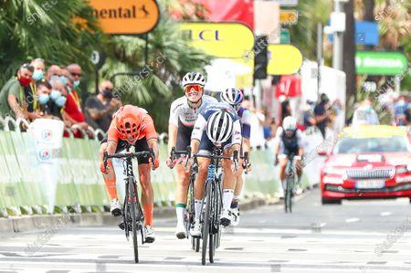 Stock Photo of Trek-Segafredo's Lizzie Deignan (r) beats CCC-Liv's Marianne Vos in a sprint finish to win the La Course by Le Tour de France 2020.