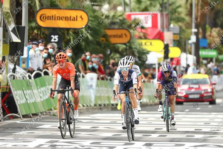 Stock Picture of Trek-Segafredo's Lizzie Deignan (r) beats CCC-Liv's Marianne Vos in a sprint finish to win the La Course by Le Tour de France 2020.