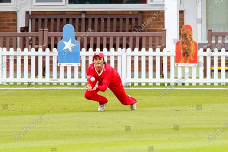 Rob Jones catches Colin Ackemann in the deep during the Vitality T20 Blast North Group match between Leicestershire Foxes County Cricket Club and Lancashire Lightning County Cricket Club at the Fischer County Ground, Grace Road, Leicester