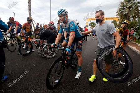 German rider Andre Greipel (C) of the Israel Start-Up Nation team receives assistance after crashing during the 1st stage of the 107th edition of the Tour de France cycling race over 156km around Nice, France, 29 August 2020.