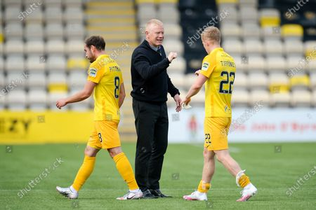 Livingston manager Gary Holt congratulates his players at the final whistle during the Scottish Premiership match between Livingston and Ross County at Tony Macaroni Arena, Livingston