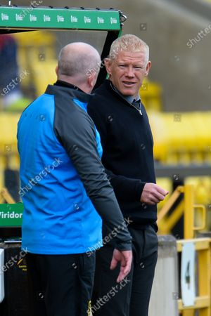 Livingston manager Gary Holt (right) speaks with Livingston assistant manager David Martindale during the Scottish Premiership match between Livingston and Ross County at Tony Macaroni Arena, Livingston
