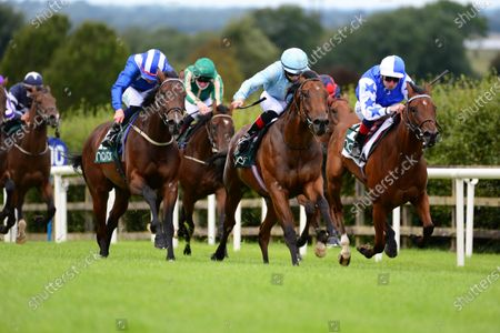 NAVAN 29-August-2020. TAR HILL and Mikey Sheehy (centre) win from TASHGHEEL (left) and DIXIE BLUEBELL (right) for owner David Forecast and trainer Joseph O'Brien.
