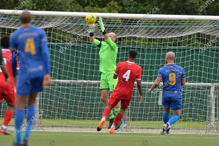 Rob Budd Of Harlow Town FC jumps and catches a cross during Harlow Town vs Romford, Friendly Match Football at The Harlow Arena on 29th August 2020