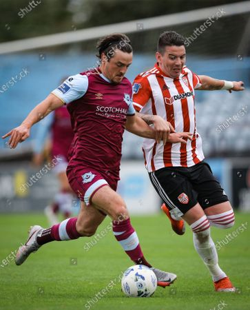 Drogheda United vs Derry City. Drogheda United's James Brown and Adam Hammill of Derry City