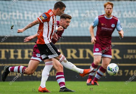 Stock Image of Drogheda United vs Derry City. Derry City's Adam Hammill and Richie O'Farrell of Drogheda United