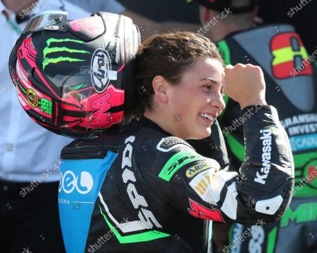 Spanish rider Ana Carrasco of Team Kawasaki celebrates her second position after the Supersport300 race held within the WSBK Superbike Aragon-Alcañiz at Motorland circuit in Alcaniz, Spain, 29 August 2020.
