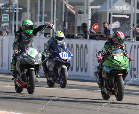 Spanish riders Ana Carrasco(R), Mika Perez (L) and Unai Orradre (C) in action during the Supersport300 race held within the WSBK Superbike Aragon-Alcañiz at Motorland circuit in Alcaniz, Spain, 29 August 2020.