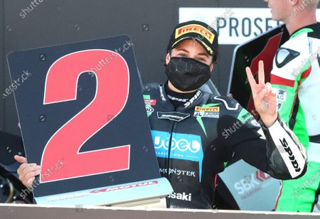 Stock Picture of Spanish rider Ana Carrasco of Team Kawasaki celebrates on the podium after being second in the Supersport300 race held within the WSBK Superbike Aragon-Alcañiz at Motorland circuit in Alcaniz, Spain, 29 August 2020.
