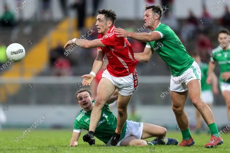 Stock Photo of East Kerry vs St. Kieran's. East Kerry's Paudie Clifford with James Walsh and Tomas Lynch of St. Kieran's