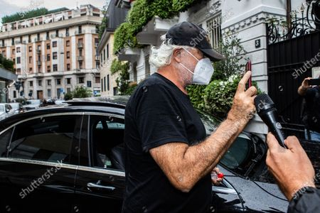 The business owner Flavio Briatore, discharged from the hospital after having tested positive for Covid-19, arrives at the home of Daniela Santanche, where he will pass the quarantine. There are 58 positive cases of Covid-19 among the employees of the Billionaire, the well-known venue in Porto Cervo owned by Briatore, closed after the controversy over the crowded nightclubs in August. Milan, Italy 29-08-2020