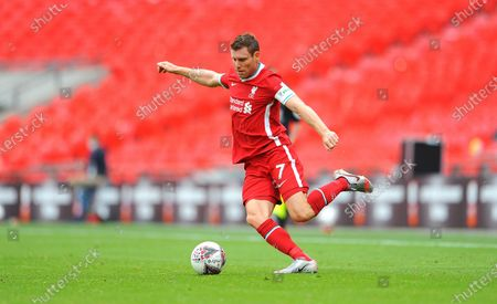 James Milner of Liverpool in action