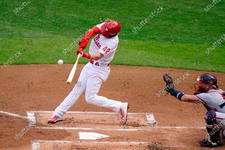 Stock Picture of Philadelphia Phillies' Bryce Harper hits an RBI-sacrifice fly off Atlanta Braves pitcher Josh Tomlin during the first inning of a baseball game, in Philadelphia