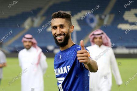 Al-Hilal player Salman Al-Faraj celebrate winning the Saudi Professional soccer League after the match between Al-Hilal and Al-Hazm, in Riyadh, Saudi Arabia, 29 August 2020.