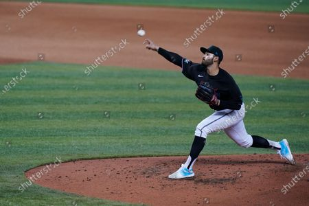 Miami Marlins' Pablo Lopez pitches during the fourth inning of a baseball game against the Tampa Bay Rays, in Miami