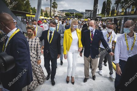 Stock Photo of H.S.H. Prince Rainier of Monaco and his wife Charlene wittstock of Monaco and Christian Estrosi mayor of Nice during the first stage of the Tour de France 2020