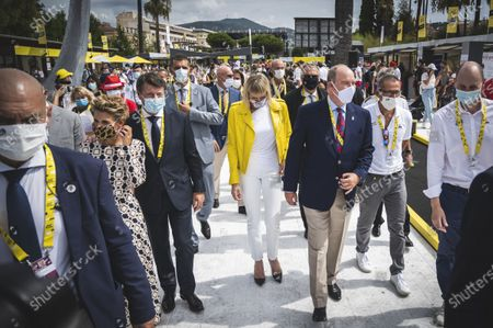 Stock Image of H.S.H. Prince Rainier of Monaco and his wife Princess Charlene of Monaco and Christian Estrosi mayor of Nice during the first stage of the Tour de France 2020