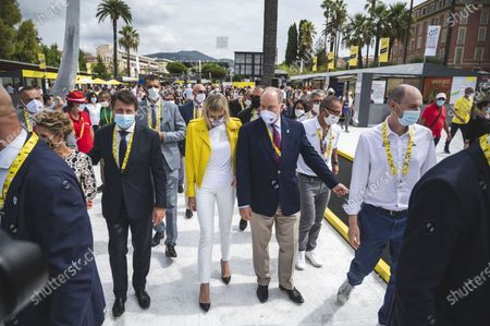 H.S.H. Prince Rainier of Monaco and his wife Princess Charlene of Monaco and Christian Estrosi mayor of Nice during the first stage of the Tour de France 2020