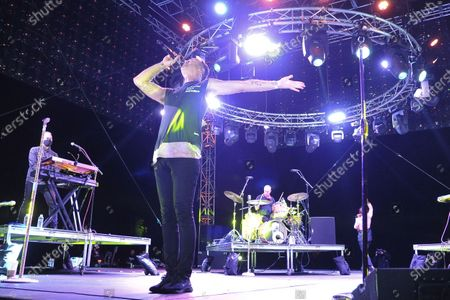 Michael Fitzpatrick of Fitz and The Tantrums, performs during Concerts In Your Car, in Ventura, Calif