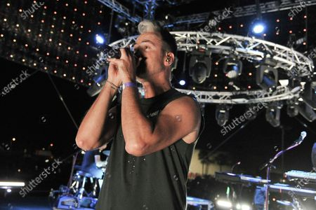 Stock Photo of Michael Fitzpatrick of Fitz and The Tantrums, performs during Concerts In Your Car, in Ventura, Calif