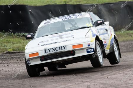 Tony Lynch, Retro Championship, wheels up exiting Paddock Ben during the 5 Nations British Rallycross at Lydden Hill Race Circuit on 30th August 2020