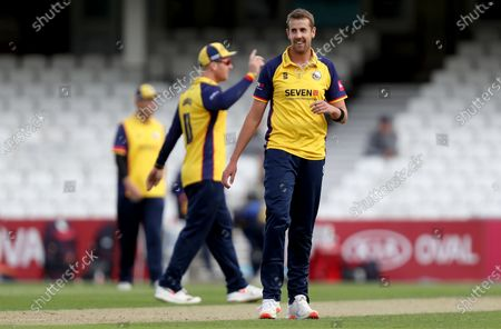 Matt Quinn of Essex smiles having taken the wicket of Ben Foakes during Surrey vs Essex Eagles, Vitality Blast T20 Cricket at the Kia Oval on 30th August 2020