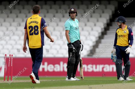 James Taylor of Surrey looks disappointed having failed to score the winning runs during Surrey vs Essex Eagles, Vitality Blast T20 Cricket at the Kia Oval on 30th August 2020