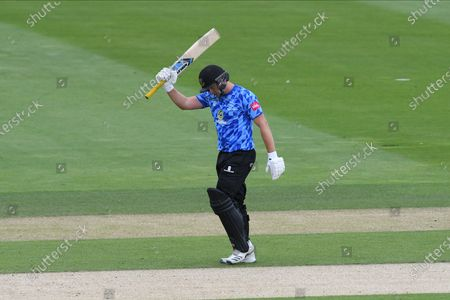 50 - Luke Wright of Sussex acknowledges the applause for his 50 during the Vitality T20 Blast South Group match between Sussex County Cricket Club and Hampshire County Cricket Club at the 1st Central County Ground, Hove