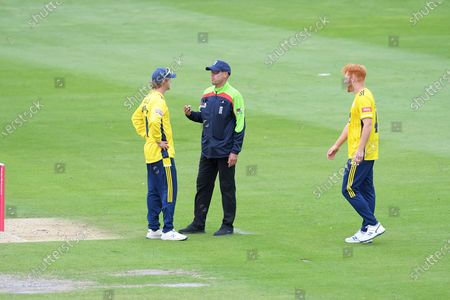 Umpire Billy Taylor explains to Hampshire captain Sam Northeast why  a delivery from Ryan Stevenson was a no ball due to height.  Luke Wright had been caught off the delivery that was eventually deemed to be a no ball  during the Vitality T20 Blast South Group match between Sussex County Cricket Club and Hampshire County Cricket Club at the 1st Central County Ground, Hove