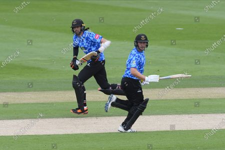 David Wiese of Sussex and Luke Wright of Sussex during their partnership of 53 during the Vitality T20 Blast South Group match between Sussex County Cricket Club and Hampshire County Cricket Club at the 1st Central County Ground, Hove