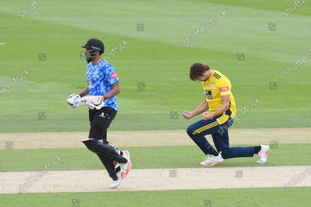 Ravi Bopara of Sussex is lbw to James Fuller of Hampshire during the Vitality T20 Blast South Group match between Sussex County Cricket Club and Hampshire County Cricket Club at the 1st Central County Ground, Hove