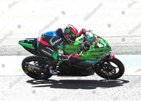 Spanish rider Ana Carrasco, of Team Kawasaki Provec, in action during the Supersport300 race held at Motorland circuit in Alcaniz, Spain, 30 August 2020.