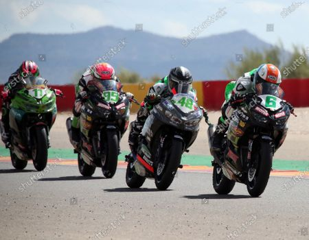(R-L) Riders Jeffrey Buis, Thomas Brianti, Scott Deroue and Ana Carrasco in action during the Supersport300 race held at Motorland circuit in Alcaniz, Spain, 30 August 2020.