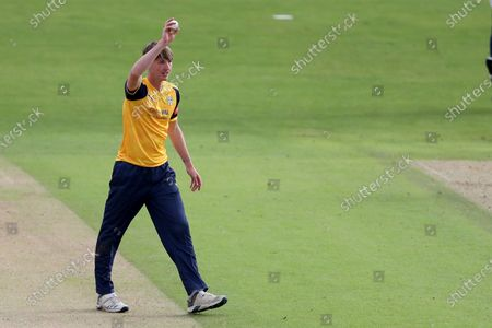 Stock Photo of George Hill of Yorkshire Vikings takes his wicket