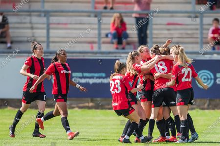 Emma Jones (Lewes) celebrates her goal 1-0 during the Pre-Season Friendly match between Lewes FC Women and London Bees at the Dripping Pan, Lewes