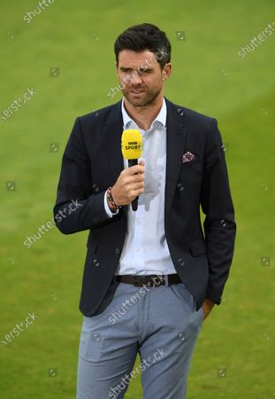 England cricketer James Anderson speaks for a television network at the end of Pakistan innings during the second Twenty20 cricket match between England and Pakistan, at Old Trafford in Manchester, England