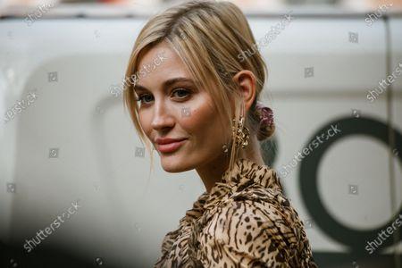 Mandy Bork seen wearing dress with animal print, seen outside Fendi show during Milan Fashion Week Womenswear Spring Summer 2020