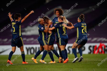 Lyon's Sara Bjork Gunnarsdottir (C) celebrates with teammates after scoring the 3-1 lead during the UEFA Women Champions League final between Vfl Wolfsburg and Olympique Lyon in San Sebastian, Spain, 30 August 2020.