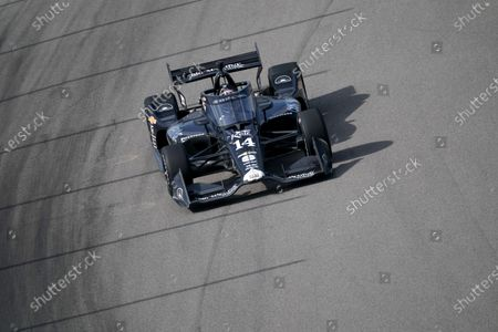 Stock Image of Tony Kanaan drives during the IndyCar auto race at World Wide Technology Raceway, in Madison, Ill