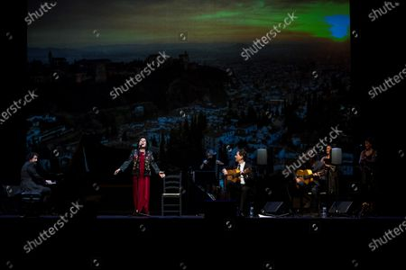 Spanish cantaora (flamenco singer) Carmen Linares performs on stage at Conde Duque Arts Center in Madrid, Spain, 30 August 2020, as part of the Veranos de la Villa performances.