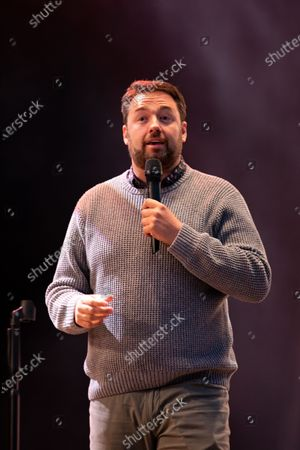 Jason Manford performs comedy at the Virgin Money Unity Arena