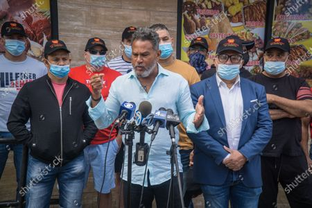 Stock Image of Fernando Mateo of the United Bodega Owners of America held a press coference today at Lizbeth Supermarket 1702 Watson Ave in the Bronx where a women who refused to wear a mask to enter pulled out a machete and vandalized merchandise costing the store owner Wascar Soto about $7,000 in damages. (Photo by Steve Sanchez/Pacific Press