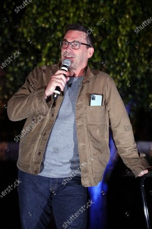 Stock Image of Culver City, CA - August 30, 2020 - Jon Hamm seen at the BABY DRIVER screening at the Sony Pictures drive-in on the historic Sony Pictures lot.