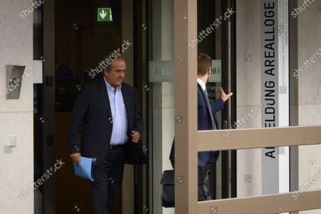 Former UEFA president Michel Platini (L) and lawyer Dominic Nellen (R) appear in front of the building of the Office of the Attorney General of Switzerland, in Bern, Switzerland, 31 August 2020. Former UEFA president Michel Platini and former FIFA president Sepp Blatter each face interrogation from the Swiss public prosecutor as part of the proceedings opened in 2015 over a payment of 2 million Swiss francs. Platini's hearing is on 30 August, Blatter's hearing on 01 September.