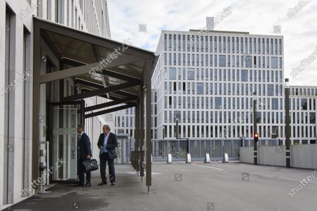 Former UEFA president Michel Platini (R) and lawyer Dominic Nellen (L) appear in front of the building of the Office of the Attorney General of Switzerland, in Bern, Switzerland, 31 August 2020. Former UEFA president Michel Platini and former FIFA president Sepp Blatter each face interrogation from the Swiss public prosecutor as part of the proceedings opened in 2015 over a payment of 2 million Swiss francs. Platini's hearing is on 30 August, Blatter's hearing on 01 September.