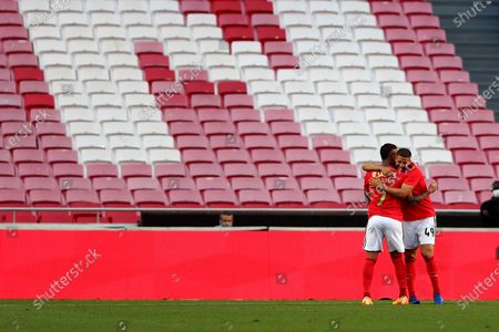 Stock Photo of Adel Taarabt (R) of SL Benfica celebrates with his teammate Everton after scoring a goal during a pre-season friendly football match between SL Benfica and AFC Bournemouth in Lisbon, Portugal, Aug. 30, 2020.