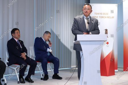 (L-R) Toshiaki Endo, Yoshiro Mori,  JOCYasuhiro Yamashita :  Media Ceremony Prior to Public Display of the Olympic Flame for the Tokyo 2020 Olympic Games at the Japan Olympic Museum in Tokyo, Japan.