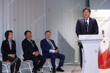 (L-R) Seiko Hashimoto, Toshiaki Endo, Yoshiro Mori, Koichi Hagiuda :  Media Ceremony Prior to Public Display of the Olympic Flame for the Tokyo 2020 Olympic Games at the Japan Olympic Museum in Tokyo, Japan.