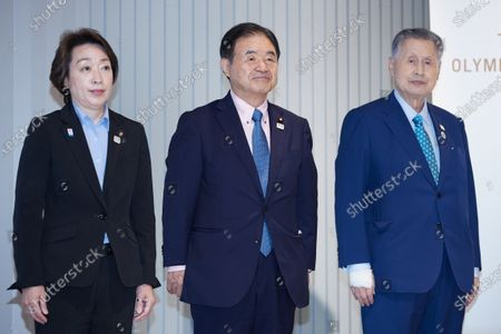 (L-R) Seiko Hashimoto, Toshiaki Endo, Yoshiro Mori :  Media Ceremony Prior to Public Display of the Olympic Flame for the Tokyo 2020 Olympic Games at the Japan Olympic Museum in Tokyo, Japan.